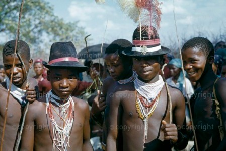 teenage Xhosa boys in costume for umtshotso dance, a dance for the youth