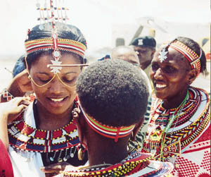 The Nnabagereka (queen) of Buganda, Sylvia Nagginda, is adorned in traditional Samburu jewellery.
