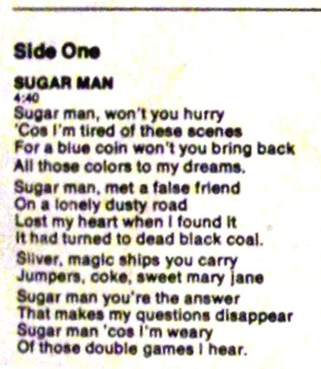 rodriguez -cold fact detail sugar man lyrics