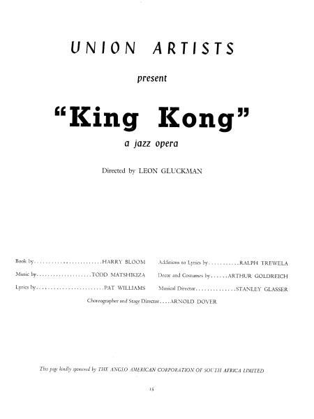 king kong london programme titel pagina 1