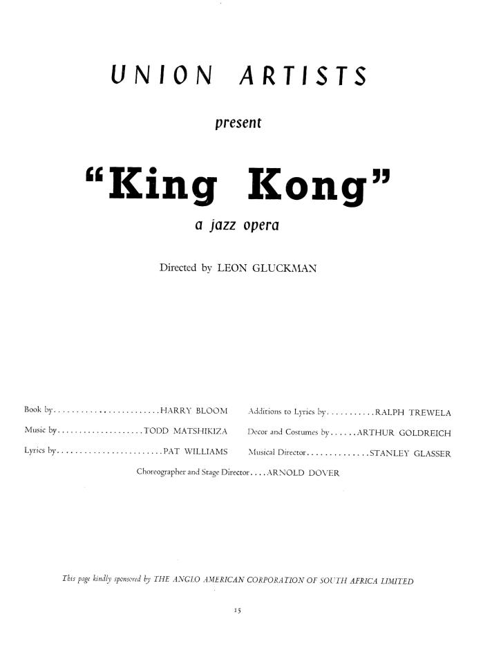 king kong london programme titel pagina 1