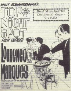 Lourenco Marques restaurant & nightclub flyer July 27 1967