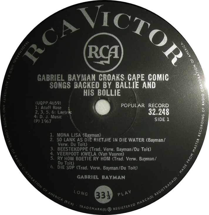 Gabriel Bayman Cape Comic songs label